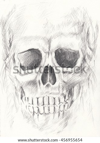 Skull art smiley face.Hand pencil drawing on paper. - stock photo
