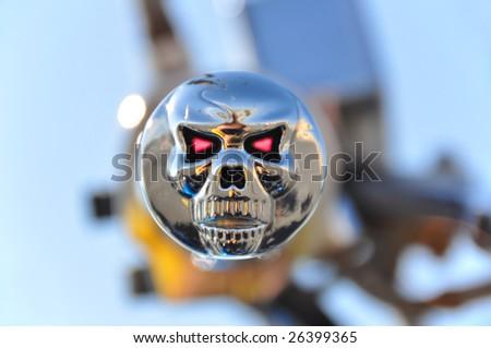 Skull bike grip - stock photo