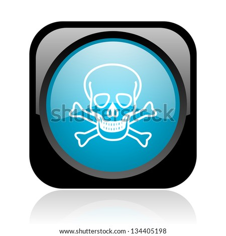 skull black and blue square web glossy icon