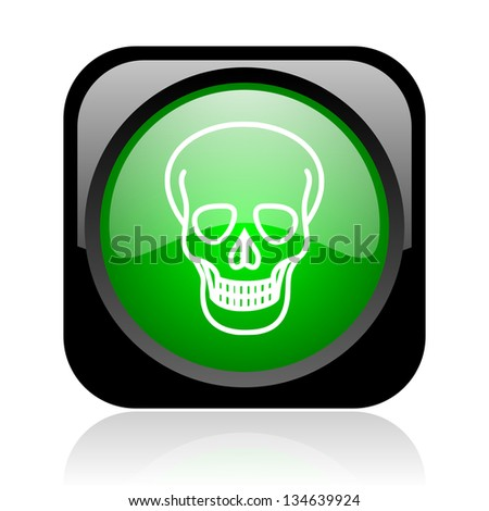 skull black and green square web glossy icon