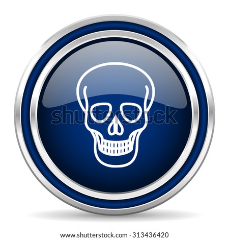 skull blue glossy web icon modern computer design with double metallic silver border on white background with shadow for web and mobile app round internet button for business usage