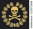 skull, bones and laurel wreath symbol (pirate symbol, skull and cross bones, skull with crossed bones, skull and bones symbol, pirates symbol) - stock photo