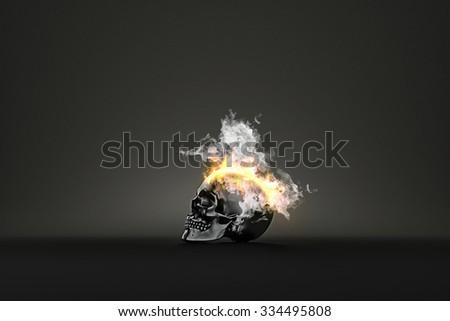 Skull burning in flames. 3d illustration - stock photo