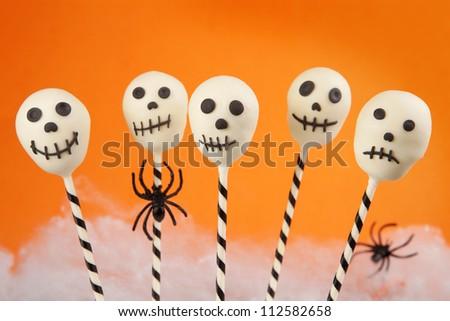 Skull cake pops - stock photo