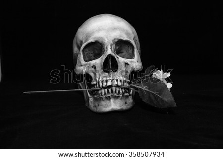 Skull carrying flowers, trees, Halloween.
