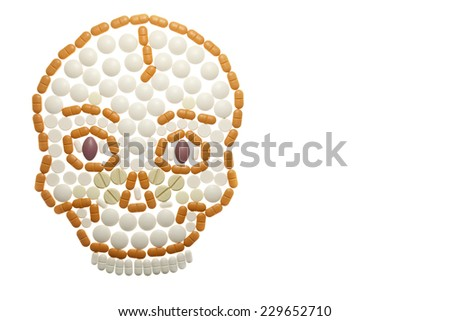 skull composed of colored pills - Photo taken 10. November 2014 - stock photo