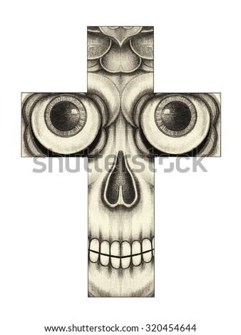 Skull cross .Hand pencil drawing on paper. - stock photo