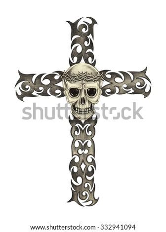 Skull cross tattoo .Hand pencil drawing on paper. - stock photo