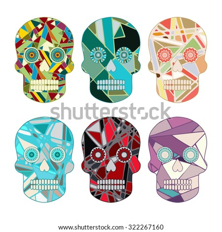 Skull day of the Dead set - stock illustration. Abstract pattern. - stock photo