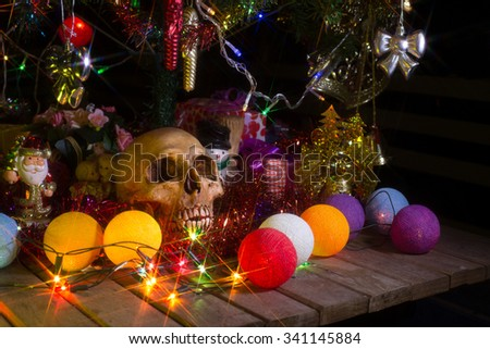 Skull, Decoration merry christmas and happy new year,(select focus style), Still life