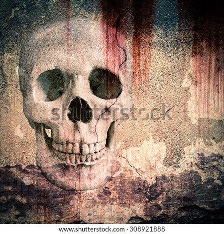 skull depicted in plastered walls - stock photo