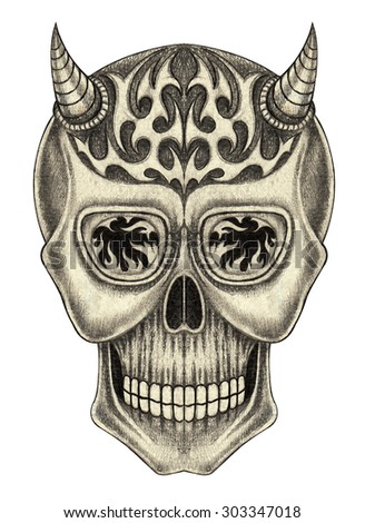 Skull devil tattoo.Hand pencil drawing on paper. - stock photo