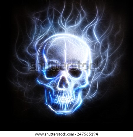Skull fractal ornament background with airbrush coloor painting  eye contact - stock photo