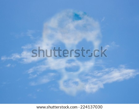 Skull from a cloud developed - stock photo