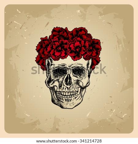 Skull girl with wreath.bitmap version - stock photo