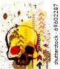 skull grunge background design. Raster version of vector - stock photo