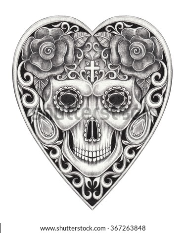 Skull heart day of the dead.Hand pencil drawing on paper. - stock photo