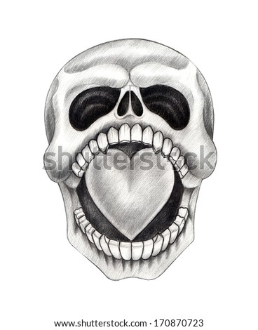 Skull heart tattoo hand drawing on stock illustration for Drawing tattoos on paper