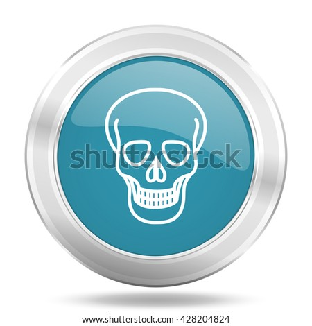 skull icon, blue round metallic glossy button, web and mobile app design illustration