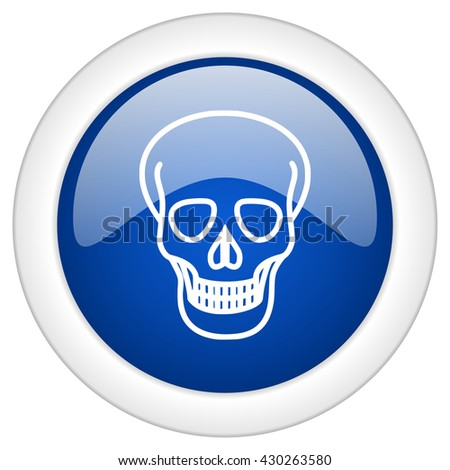skull icon, circle blue glossy internet button, web and mobile app illustration