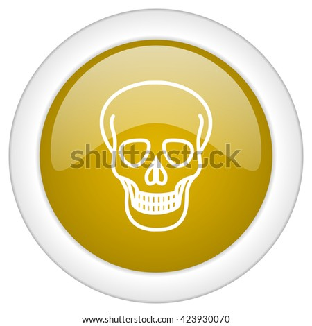 skull icon, golden round glossy button, web and mobile app design illustration