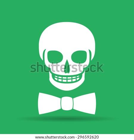 Skull icon isolated, tie. Flat  - stock photo