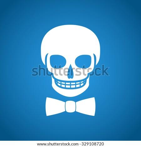 Skull icon isolated, tie. Flat design style - stock photo