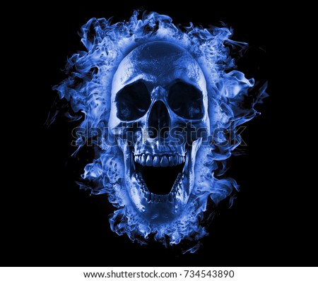 Skull In Blue Fire Wallpaper 3d Rendering
