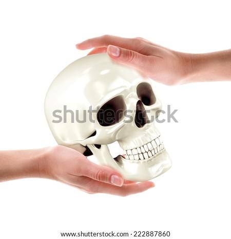 Skull in hands. High resolution. 3D render - stock photo