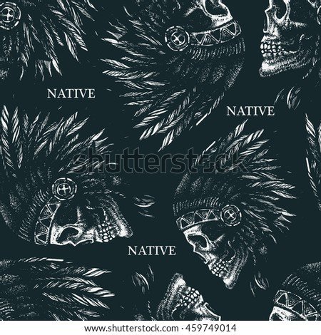 skull indian chief hand drawing style seamless background