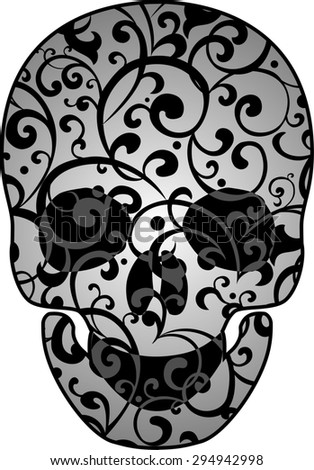 Skull isolated on White background. illustration - stock photo