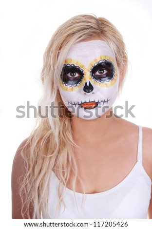 skull makeup on blonde young girl isolated on white halloween costume day of the - Girl Halloween Masks