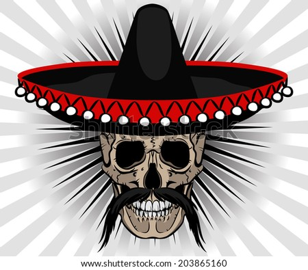 Skull Mexican style with sombrero and mustache on striped background - stock photo