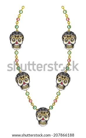 Skull necklace jewelry day of the dead. Hand drawing and painting on paper. - stock photo