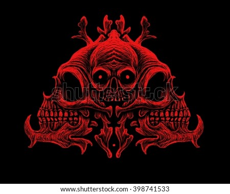 Skull ornament, with black background