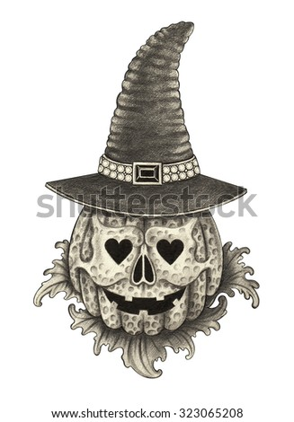 Skull pumpkin Halloween day. Hand pencil drawing on paper. - stock photo
