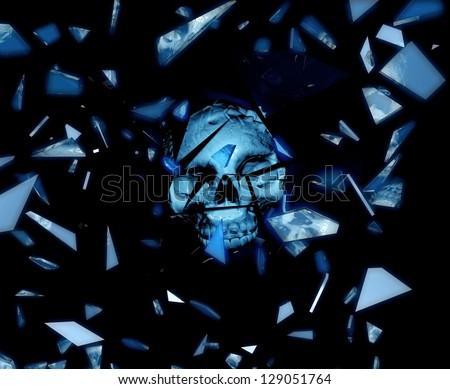 Skull reflected in broken mirrors - stock photo