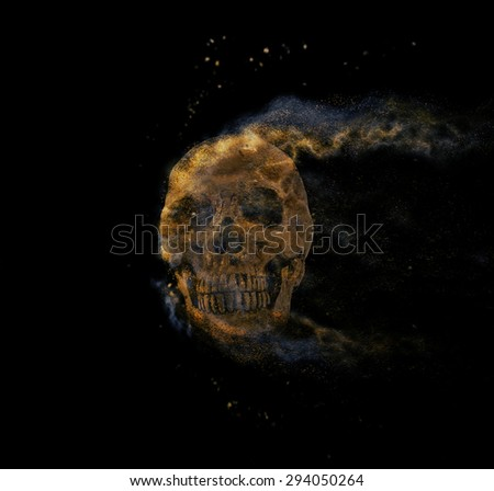 skull sand storm effect - stock photo
