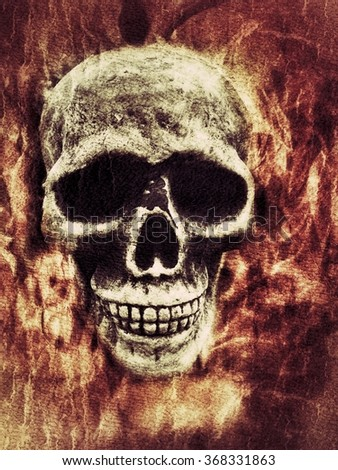 Skull surrounded by flame background