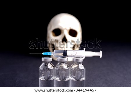 skull, syringe and medical vials risk of abuse and death