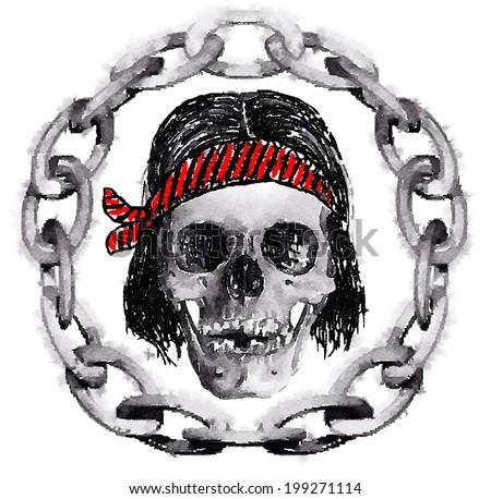 skull / t-shirt graphics / hippo skull graphic / sailor skull / watercolor illustration of a skull / chain in the circle skull - stock photo