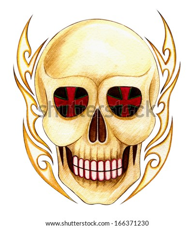 Skull tattoo .Hand color painting on paper. - stock photo