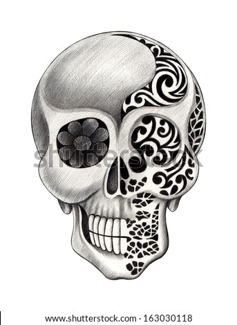 Vector dot art skull stock vector 485376712 shutterstock for Drawing tattoos on paper