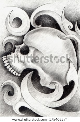 Skull tattoo .Hand drawing on paper. - stock photo