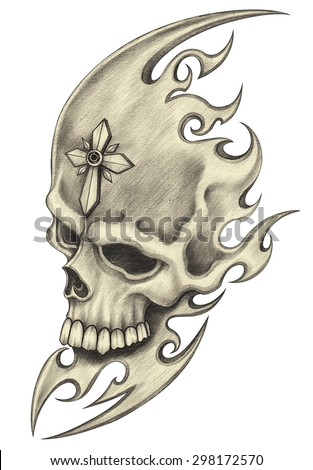 Skull tattoo.Hand pencil drawing on paper. - stock photo