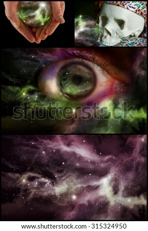 Skull universe crystal ball and all seeing eye in horoscope collage - stock photo