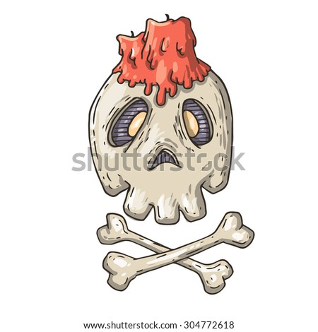 skull with a candle - stock photo