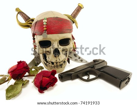 skull with a pistol and withered roses on a white background