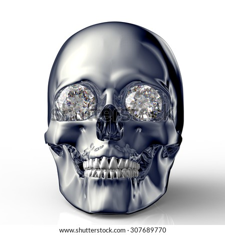 skull with diamond eyes isolated on white with clipping path.