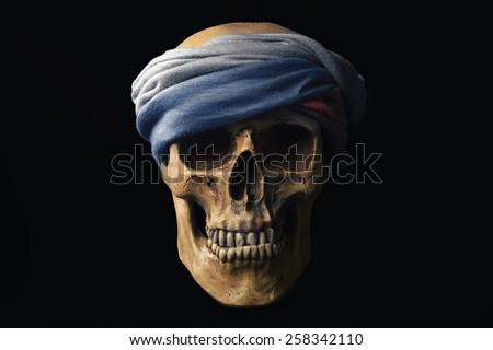 Skull with Flag of the Russian Federation - stock photo